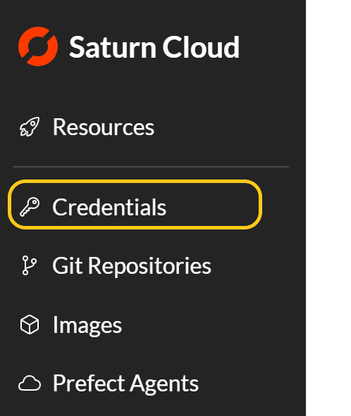 Screenshot of side menu of Saturn Cloud product with Credentials selected